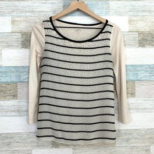 LOFT Striped Polka Dot Tee Beige Black